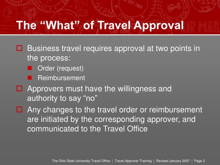 The what of travel approval