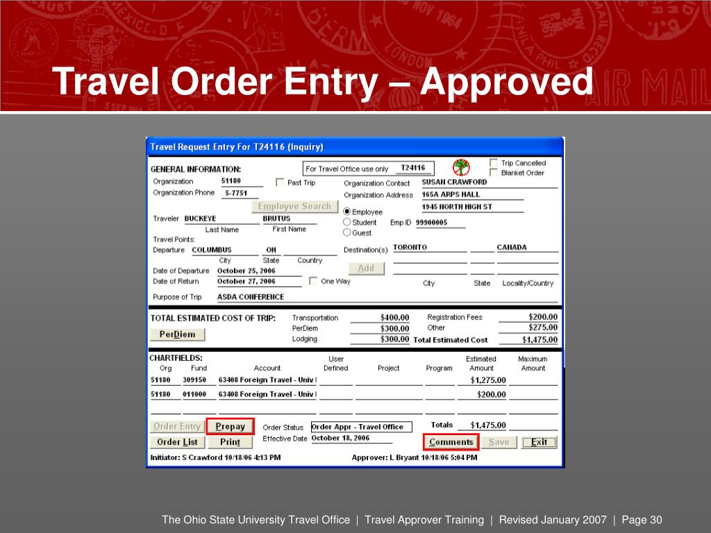 Travel Order Entry – Approved