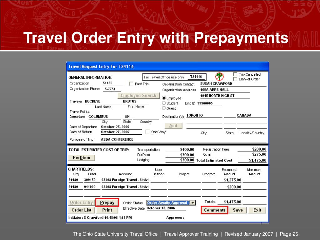 Travel Order Entry with Prepayments