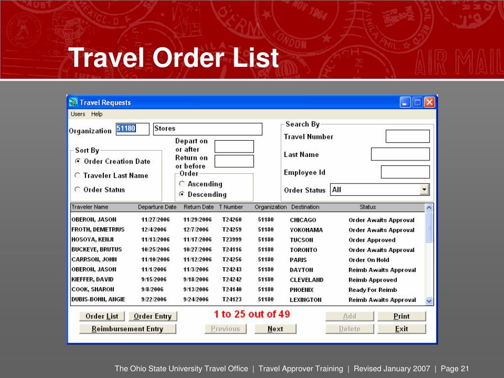 Travel Order List