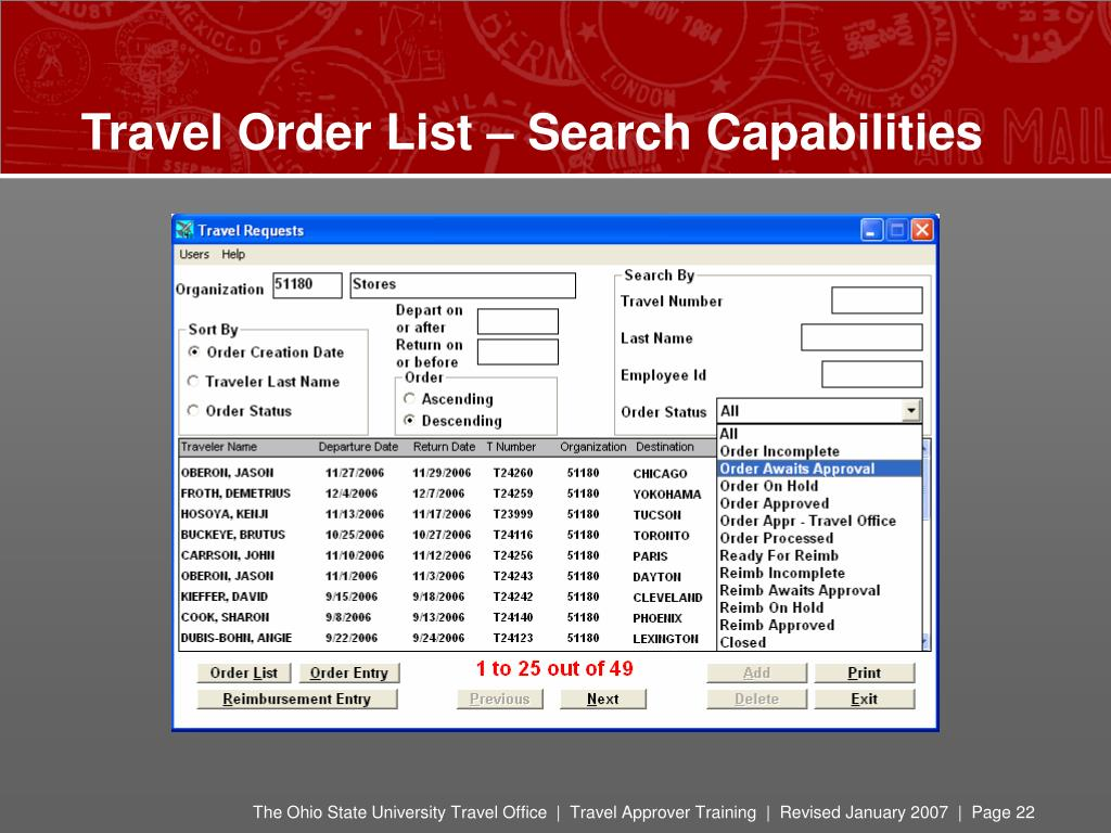 Travel Order List – Search Capabilities