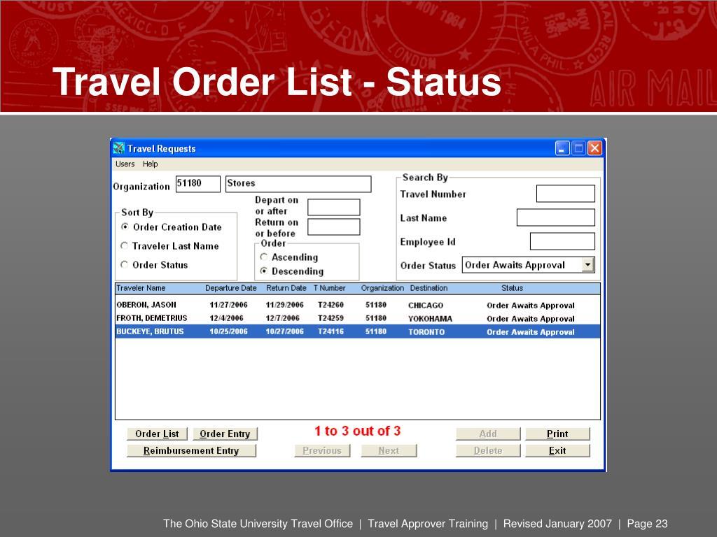 Travel Order List - Status