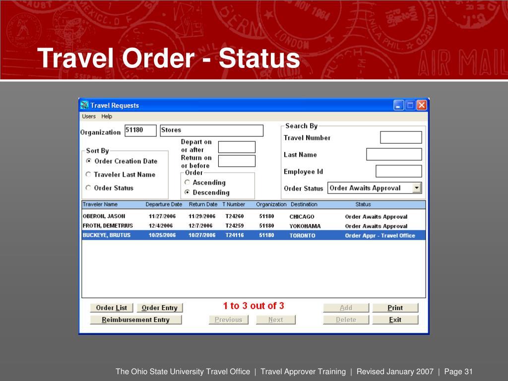 Travel Order - Status