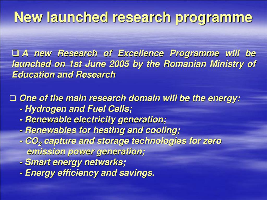 New launched research programme