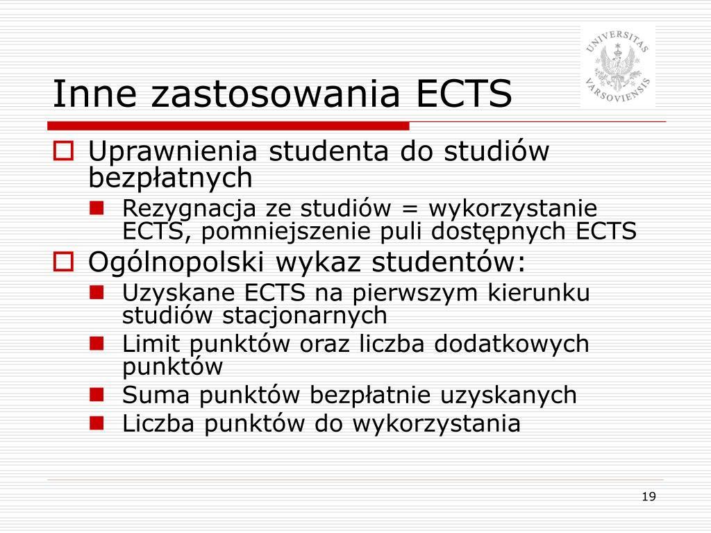 Inne zastosowania ECTS