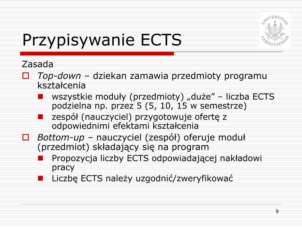Przypisywanie ECTS