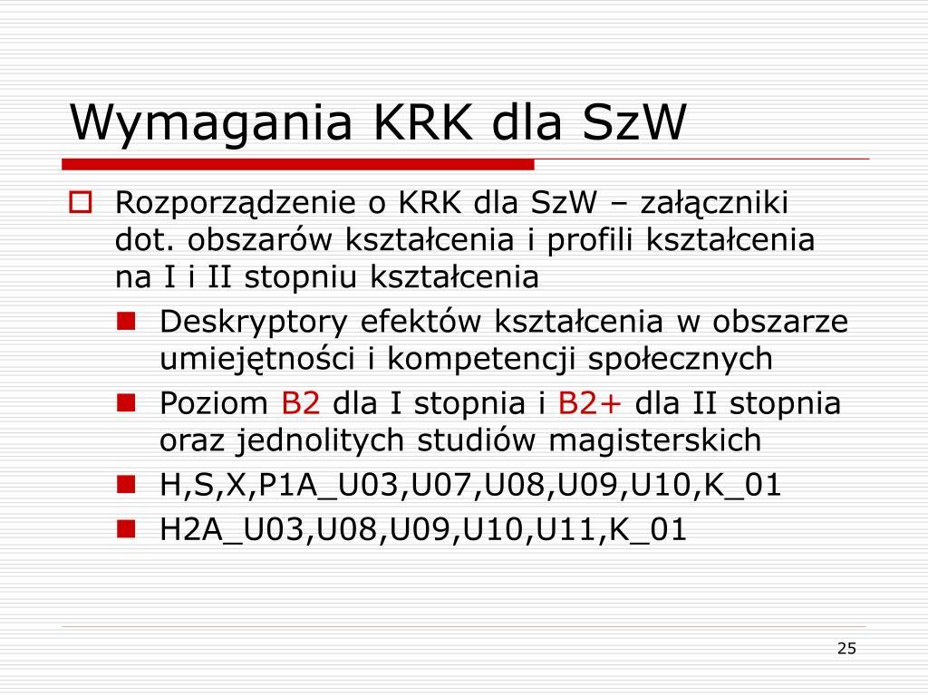 Wymagania KRK dla SzW