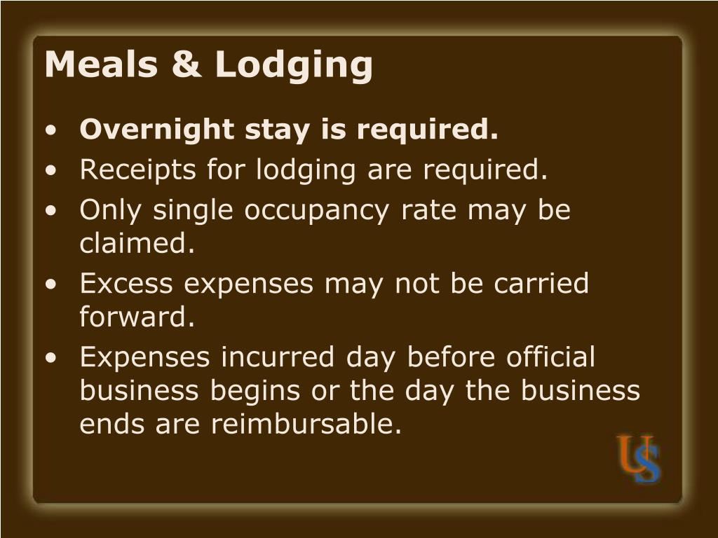 Meals & Lodging