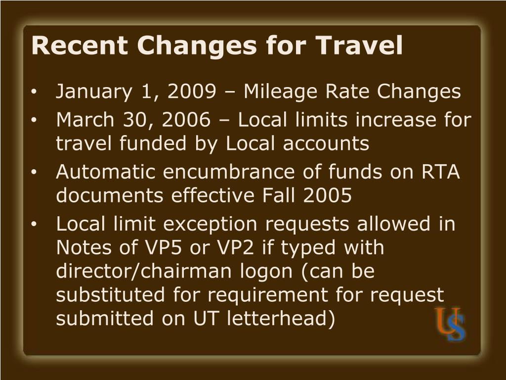 Recent Changes for Travel
