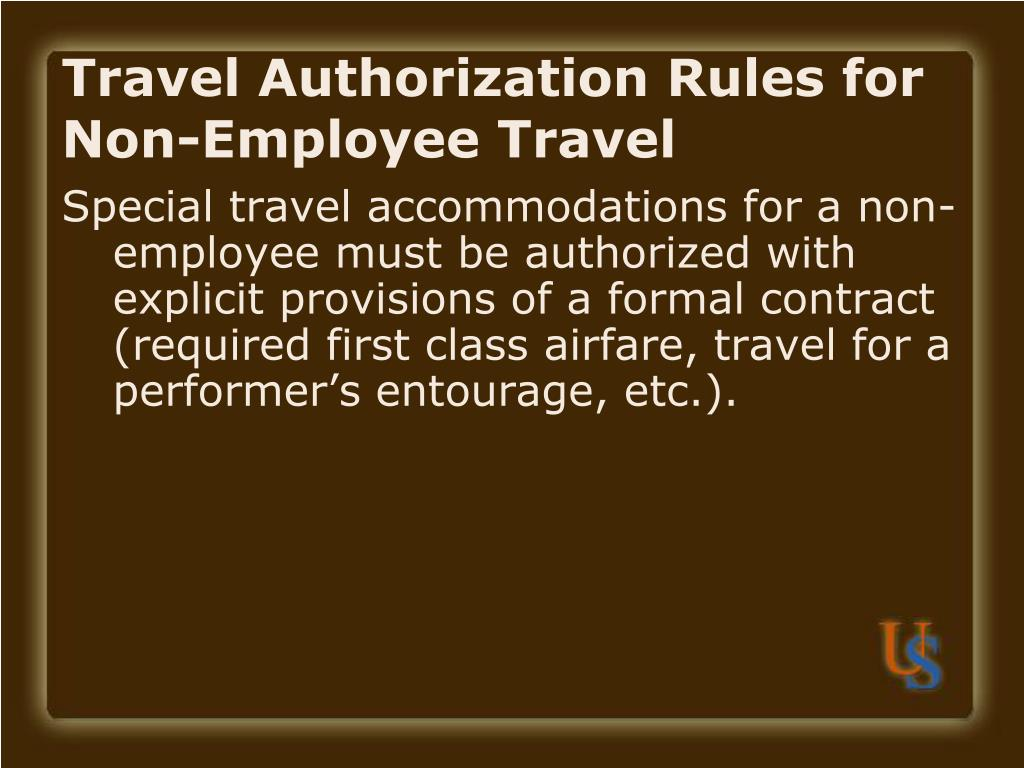 Travel Authorization Rules for Non-Employee Travel