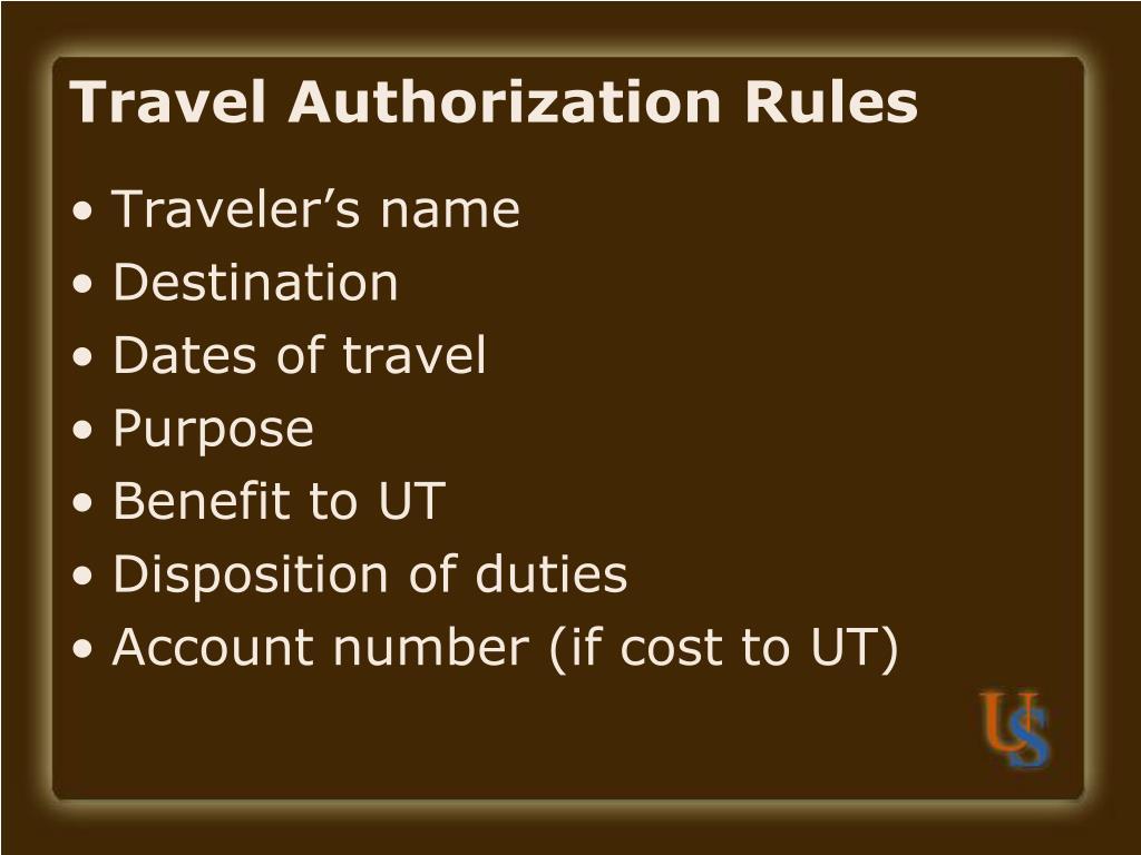 Travel Authorization Rules
