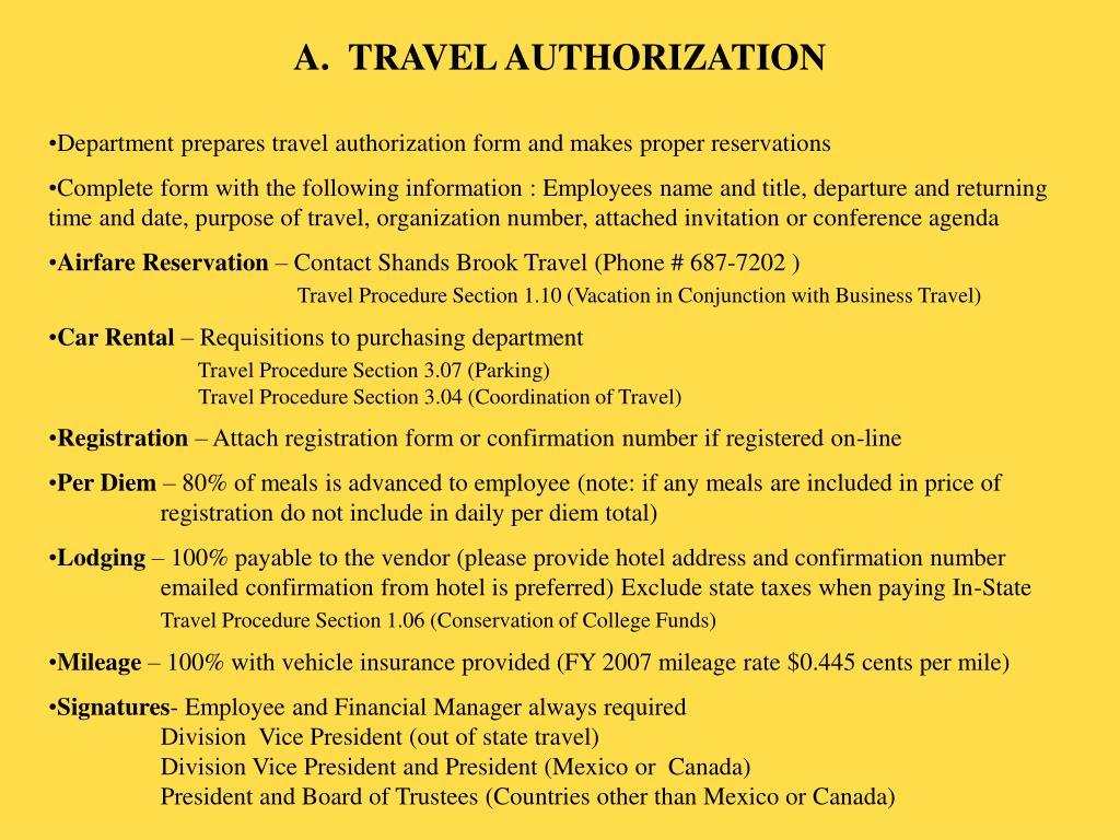 A.  TRAVEL AUTHORIZATION