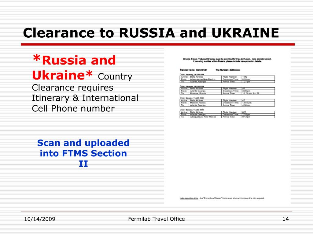 Clearance to RUSSIA and UKRAINE