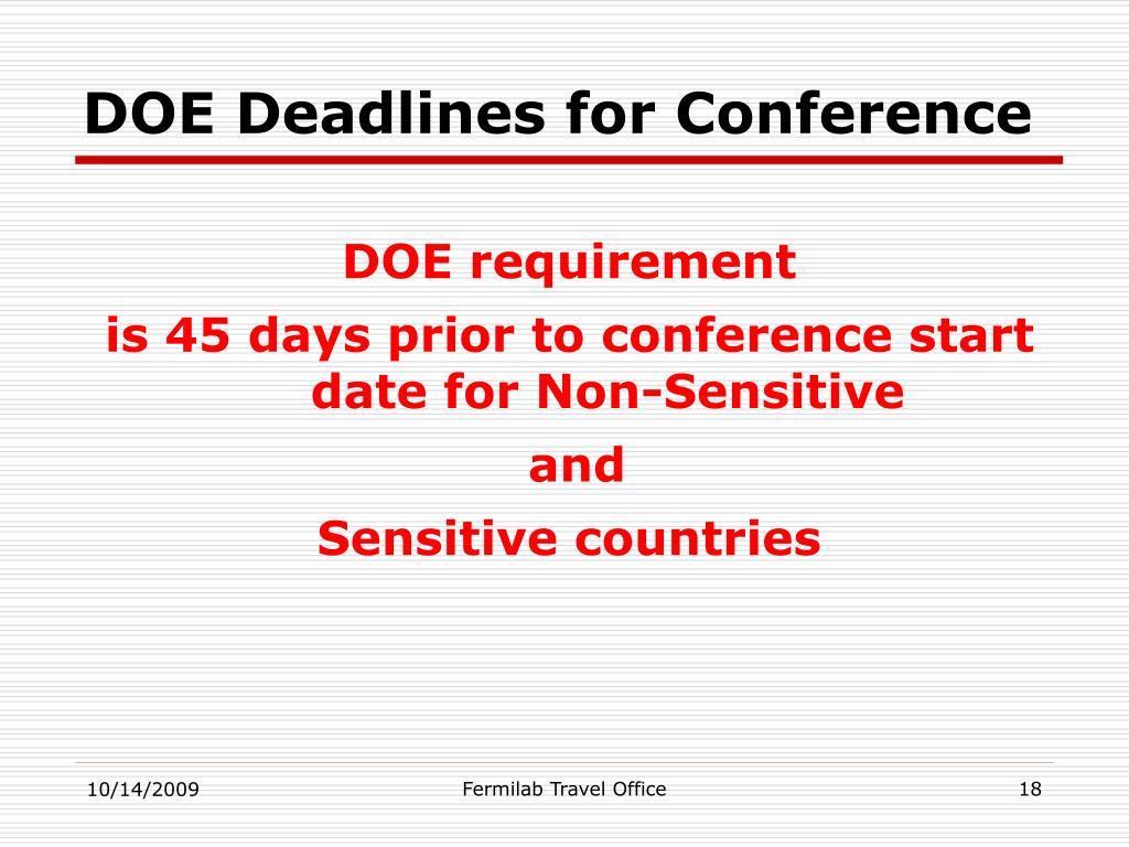 DOE Deadlines for Conference