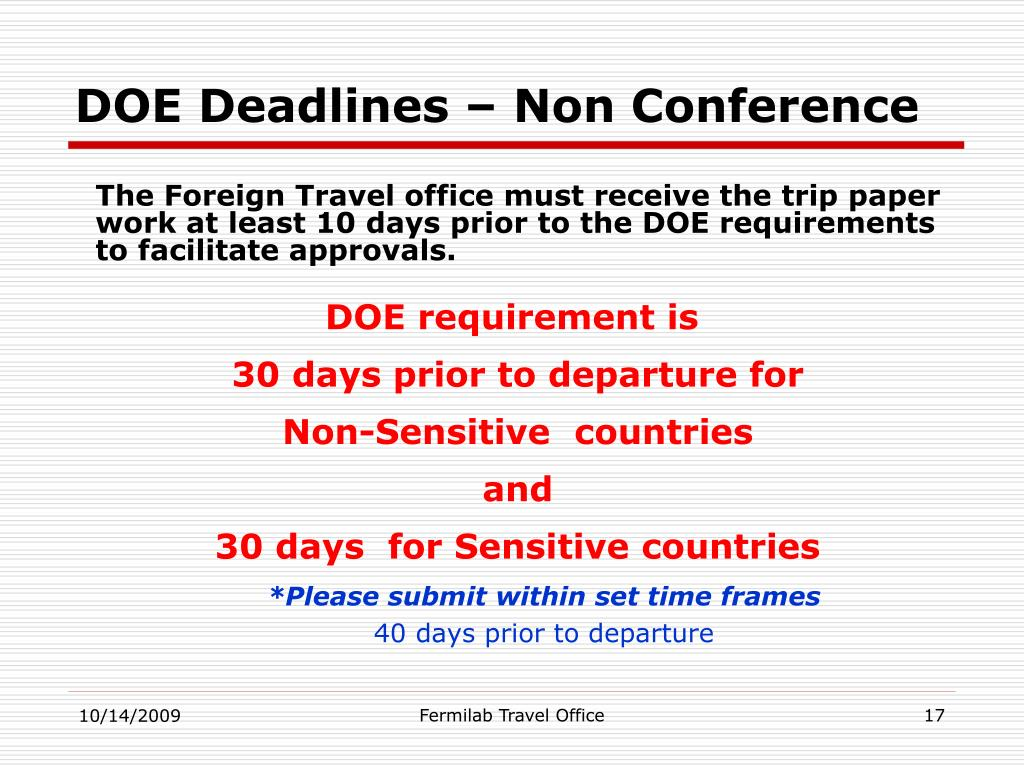 DOE Deadlines – Non Conference