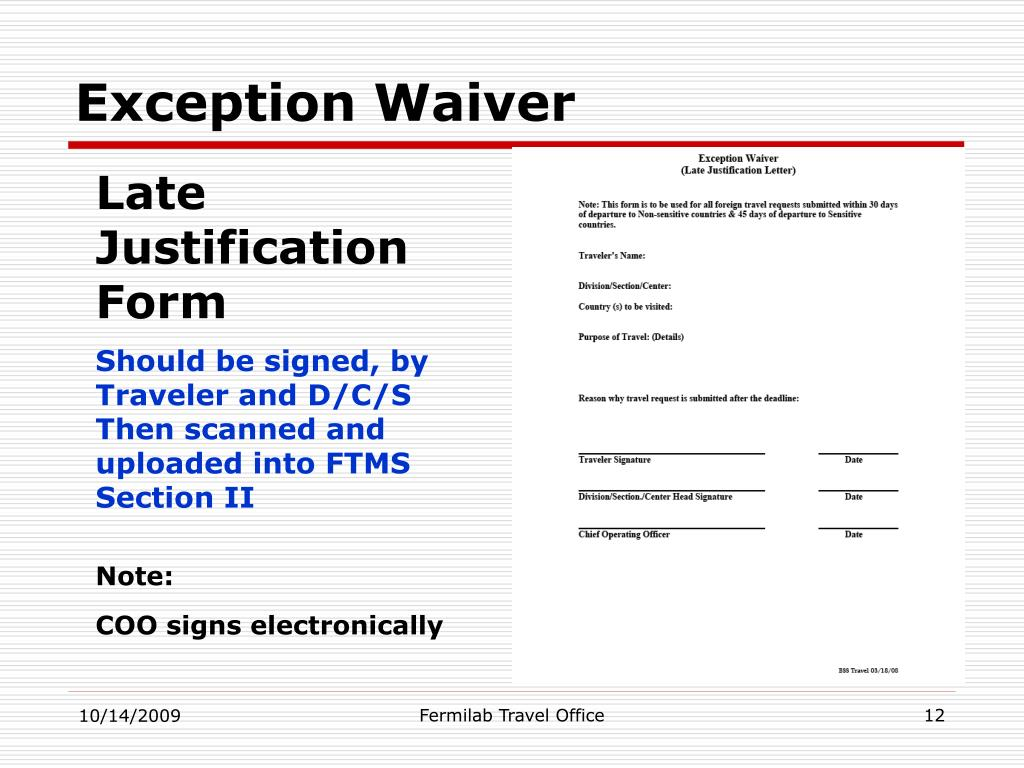 Exception Waiver