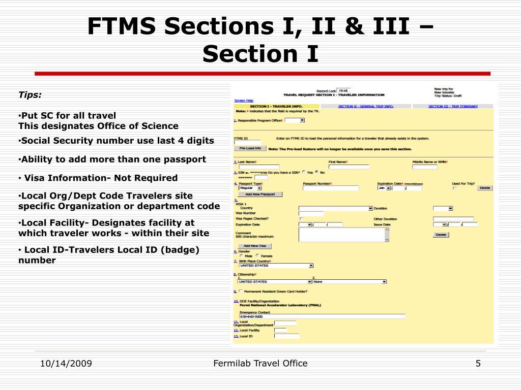 FTMS Sections I, II & III – Section I