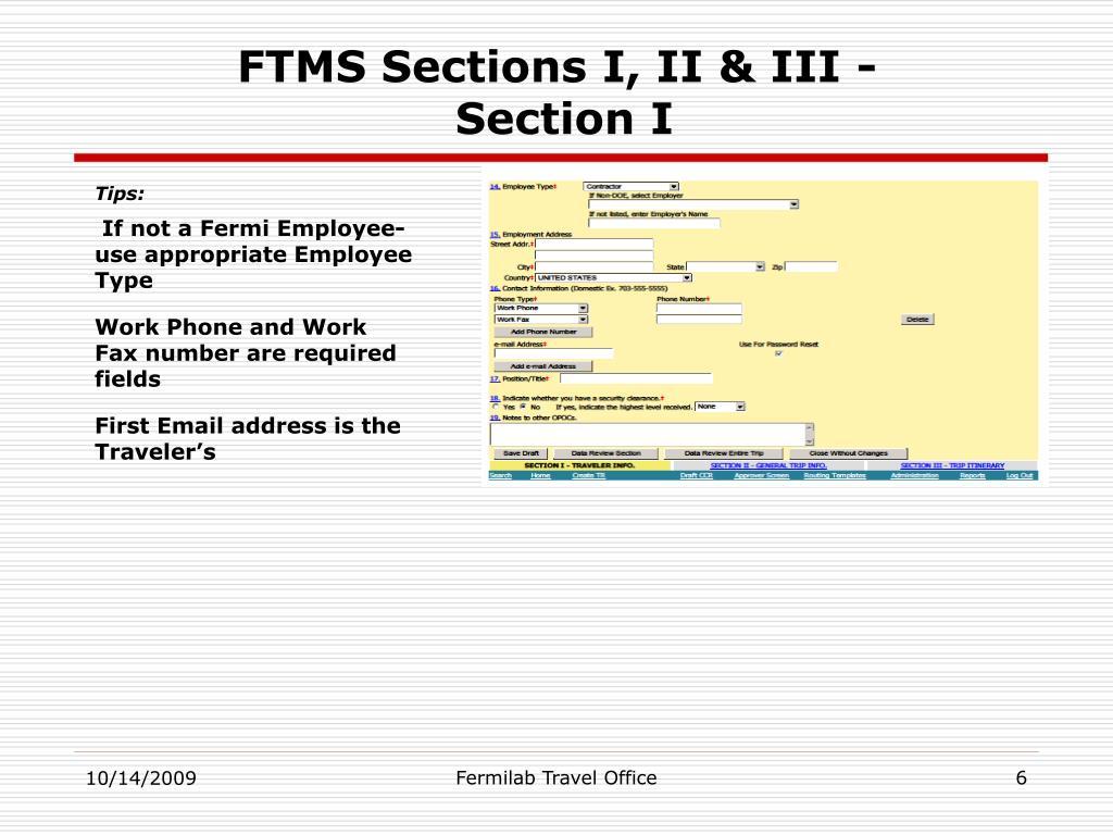 FTMS Sections I, II & III -