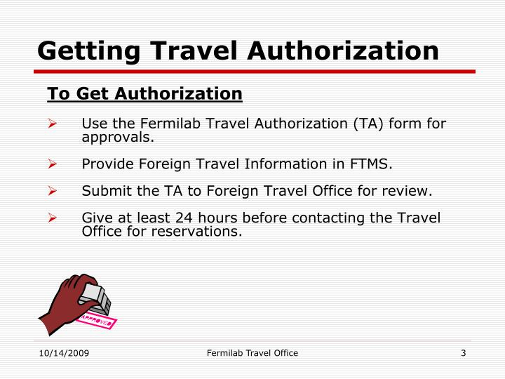 Getting travel authorization