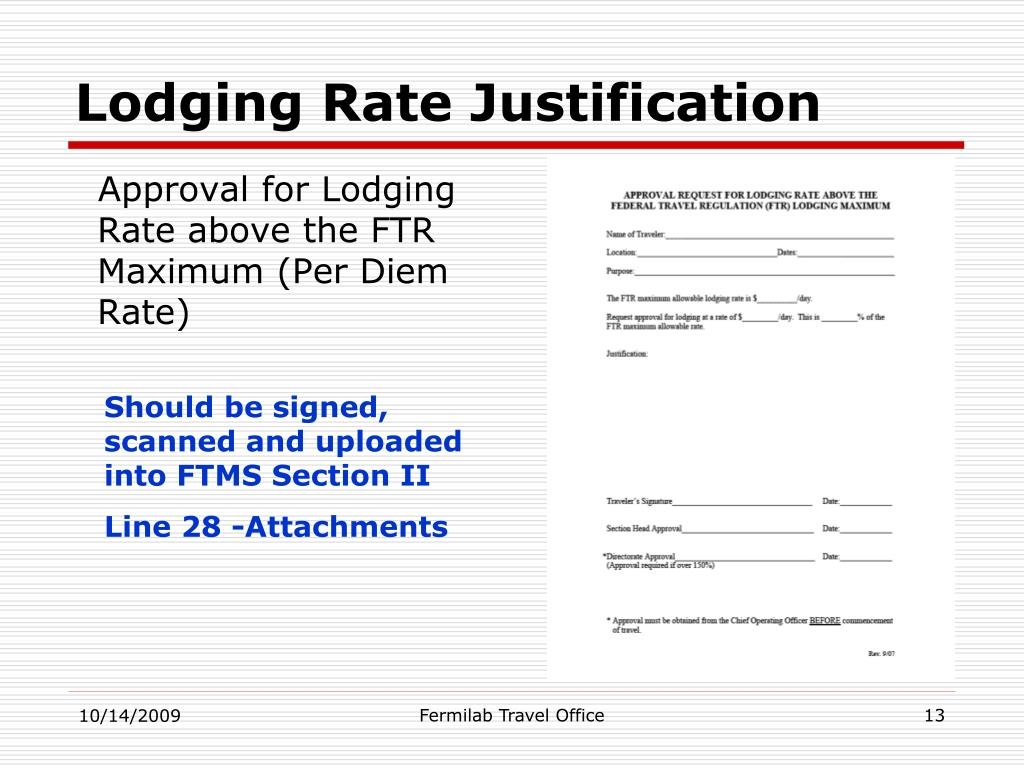 Lodging Rate Justification