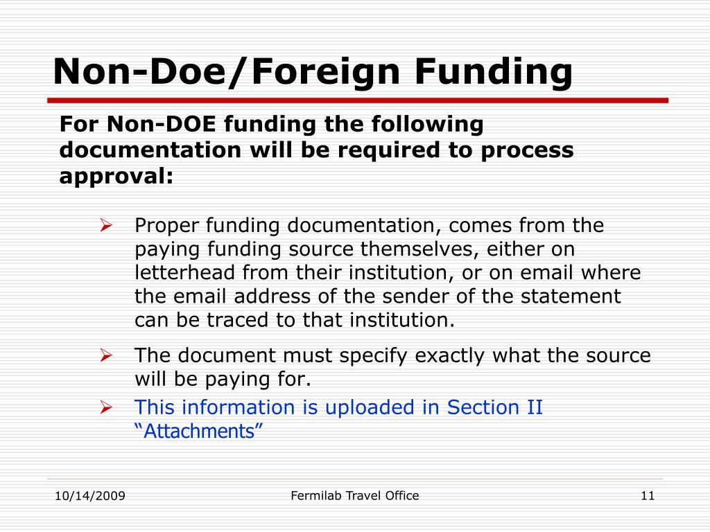 Non-Doe/Foreign Funding