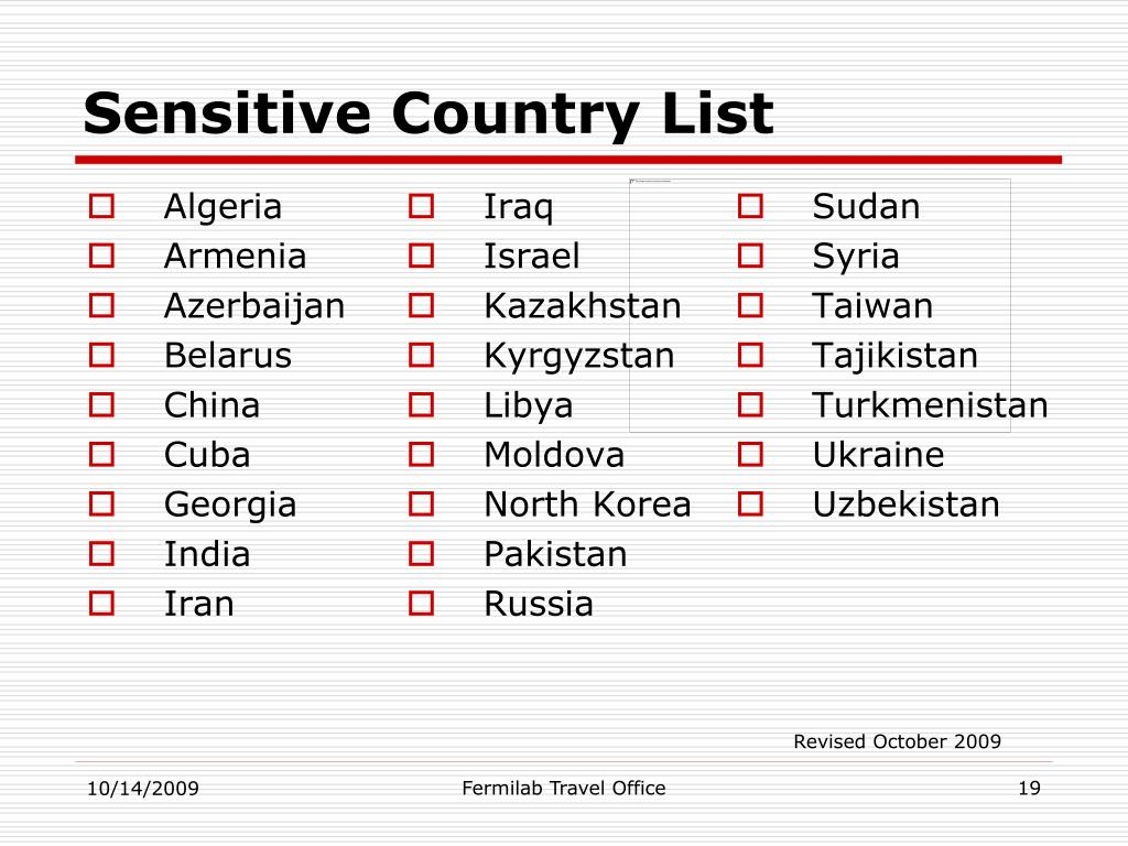 Sensitive Country List