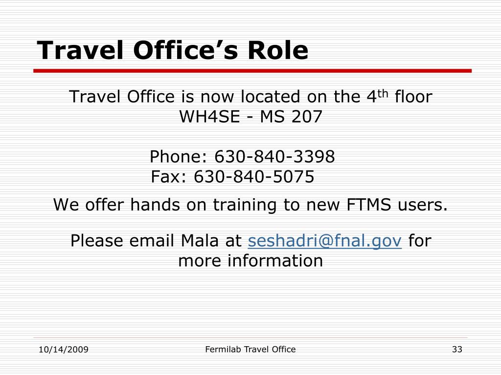 Travel Office's Role
