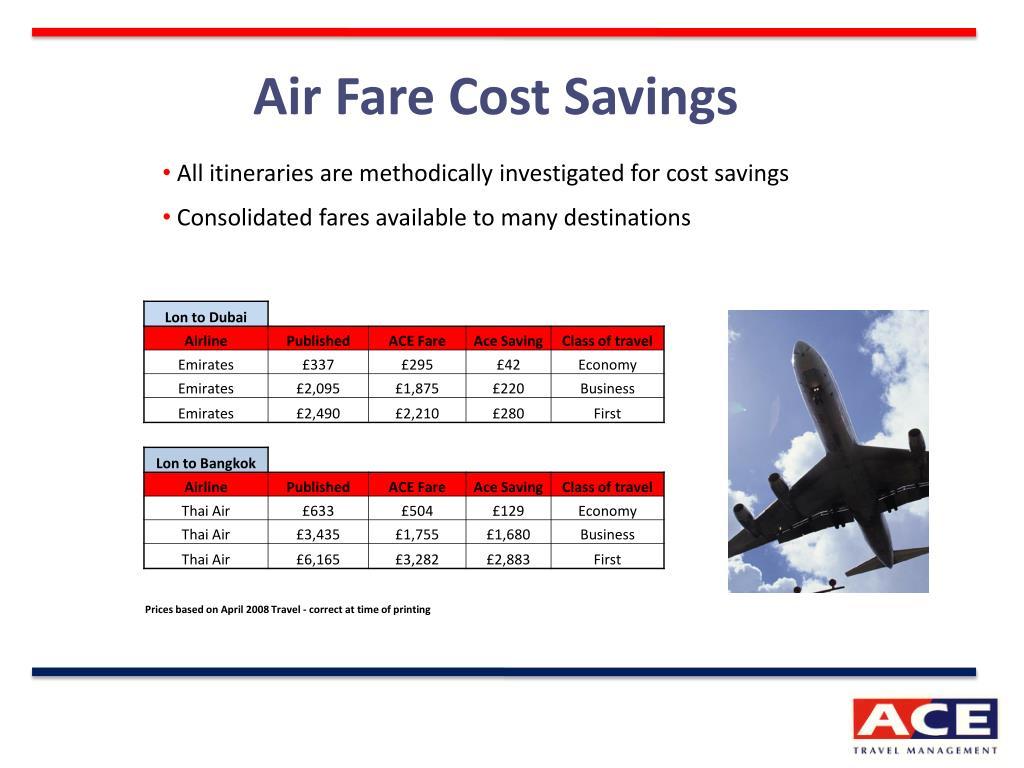 Air Fare Cost Savings