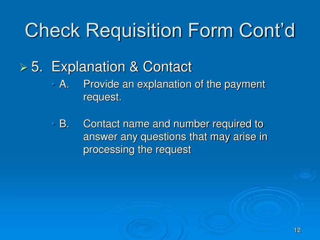 Check Requisition Form Cont'd