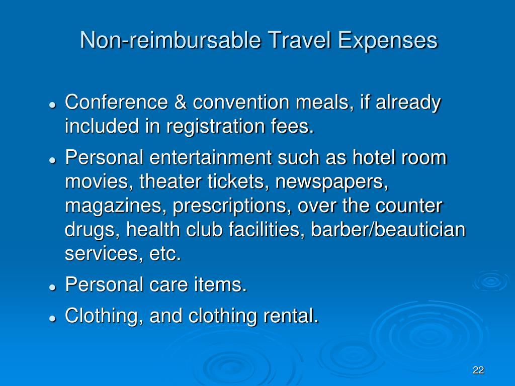 Non-reimbursable Travel Expenses