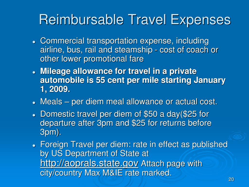 Reimbursable Travel Expenses