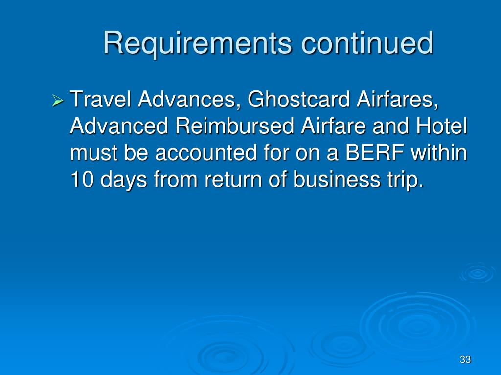 Requirements continued