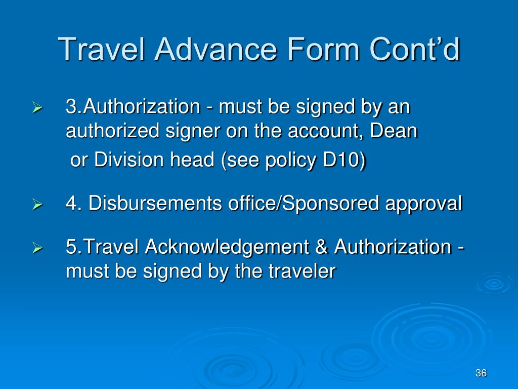 Travel Advance Form Cont'd