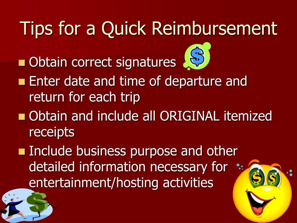 Tips for a Quick Reimbursement