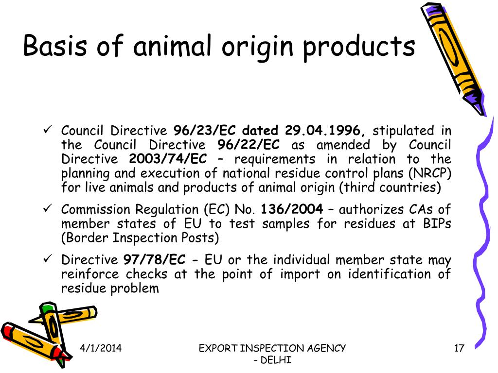 Basis of animal origin products