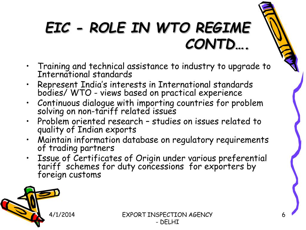 EIC - ROLE IN WTO REGIME