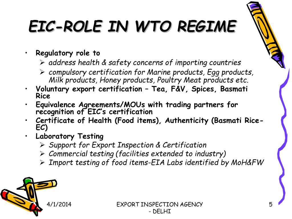 EIC-ROLE IN WTO REGIME