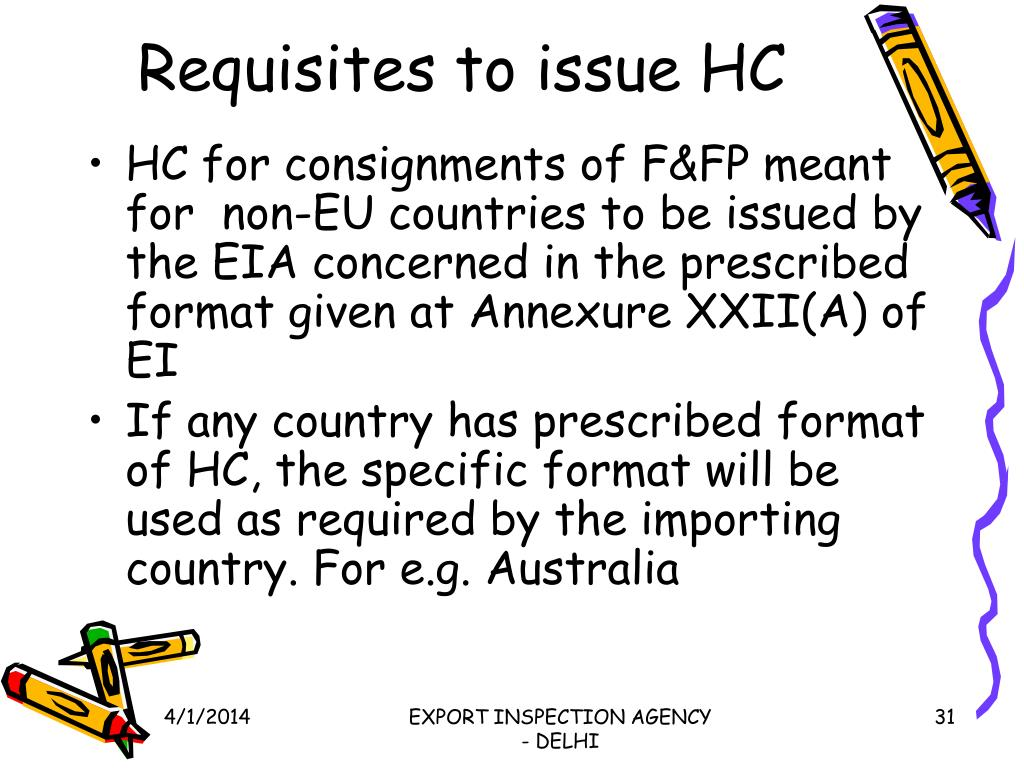 Requisites to issue HC