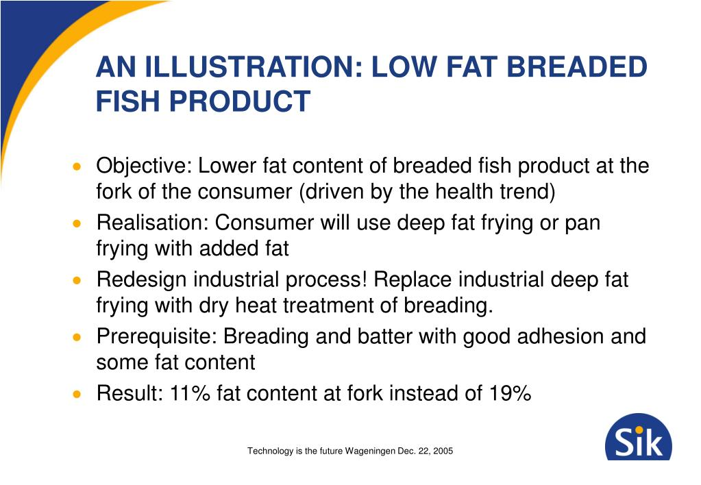 AN ILLUSTRATION: LOW FAT BREADED FISH PRODUCT
