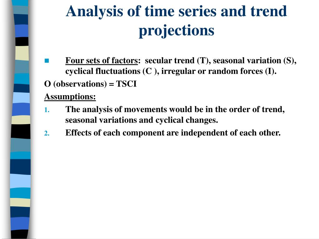 Analysis of time series and trend projections