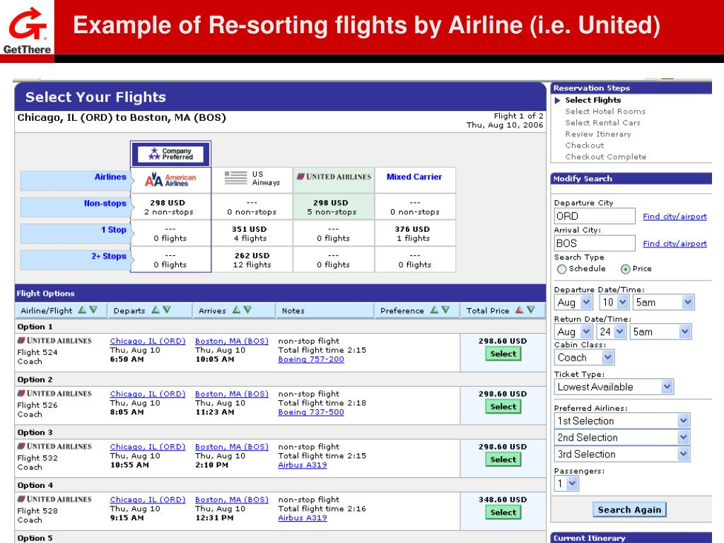 Example of Re-sorting flights by Airline (i.e. United)