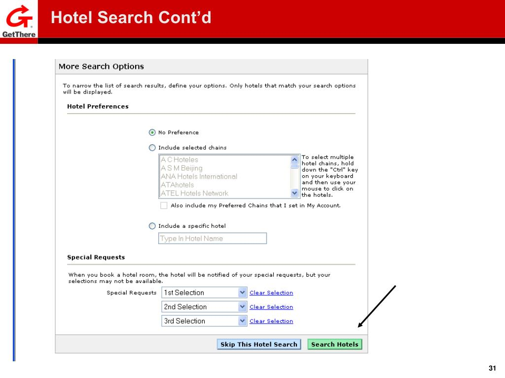 Hotel Search Cont'd