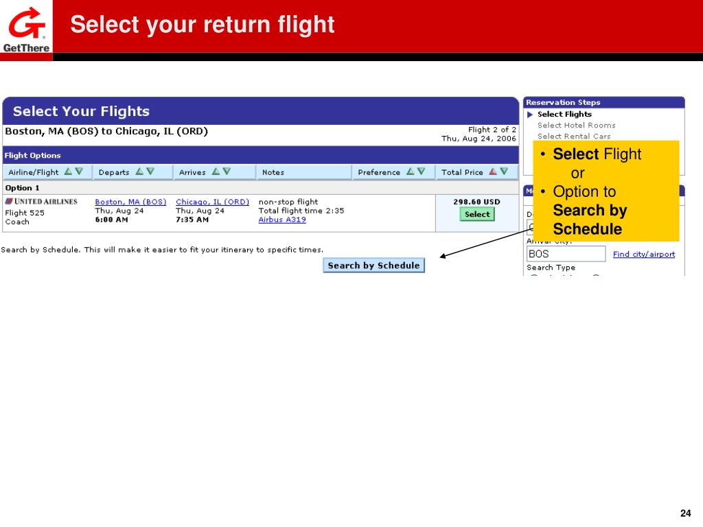 Select your return flight