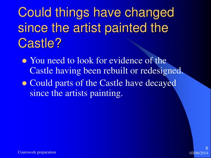 Could things have changed since the artist painted the Castle?