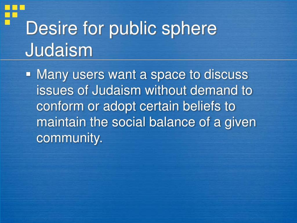 Desire for public sphere Judaism
