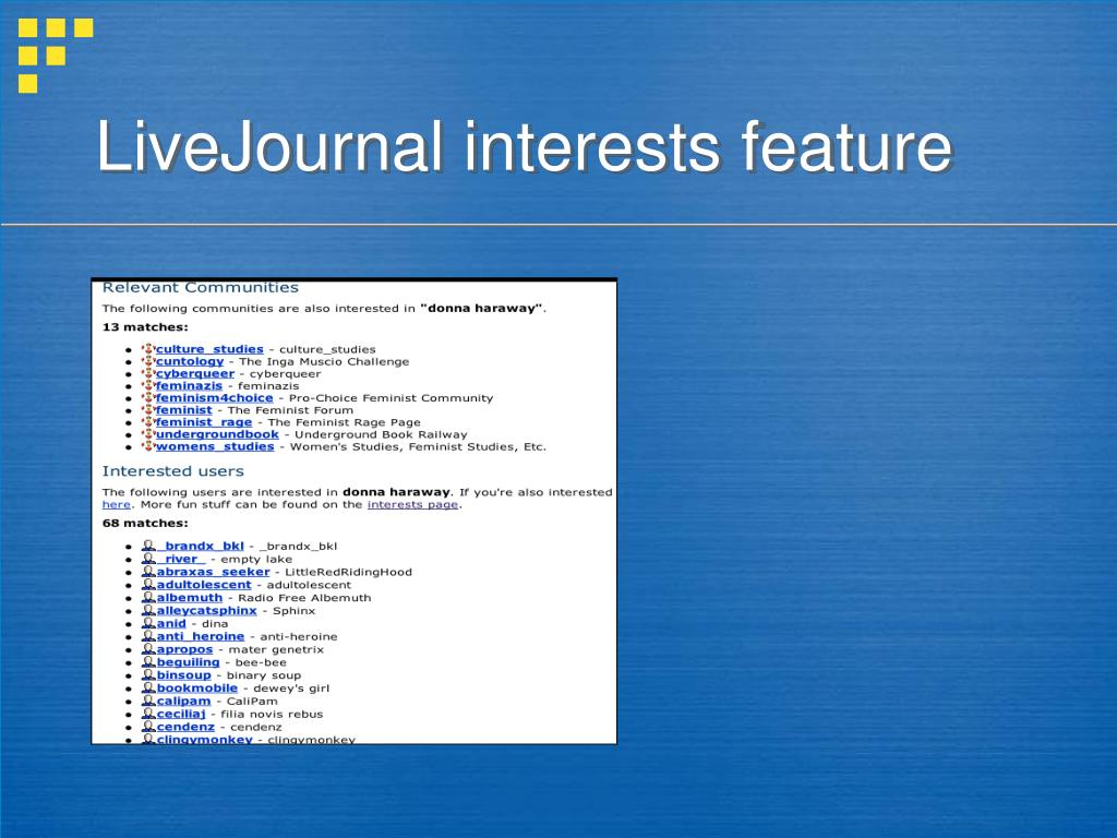 LiveJournal interests feature