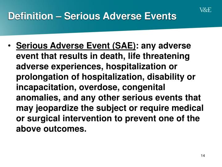Definition – Serious Adverse Events