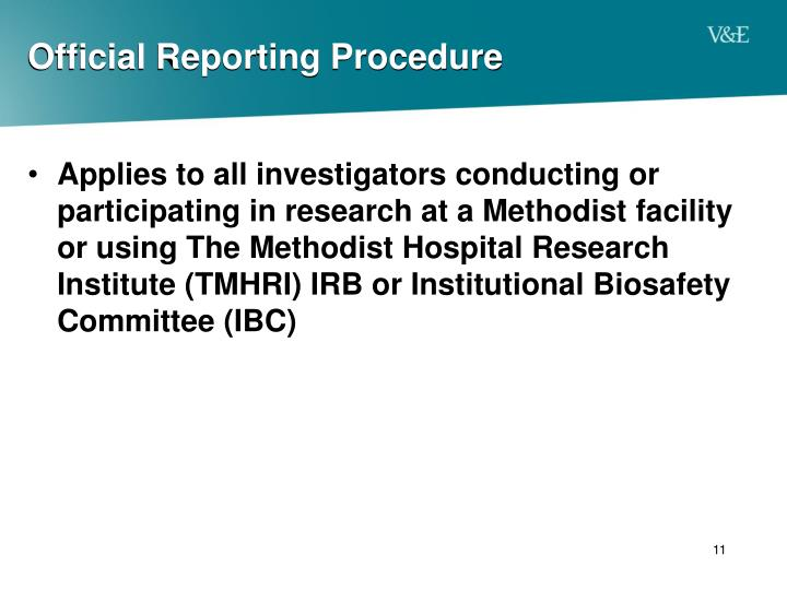 Official Reporting Procedure