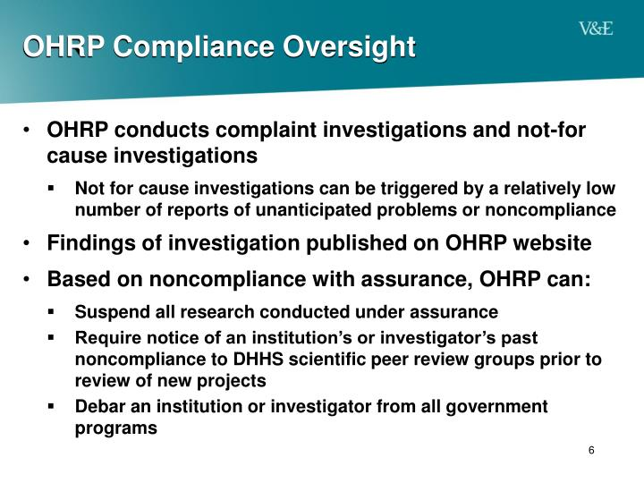 OHRP Compliance Oversight