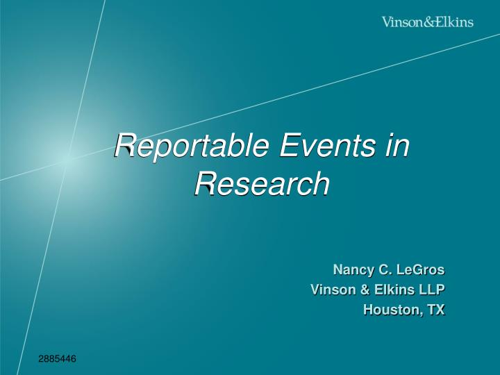 Reportable events in research